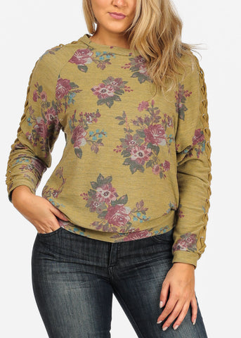 Women's Junior Cozy Lace Up Design Long Sleeve Yellow Green Mustard Floral Print Pull Over Pullover Sweatshirt Sweater Top