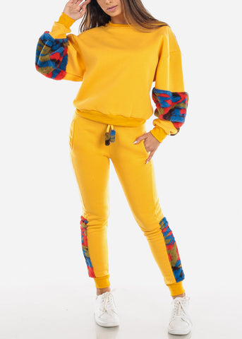 Fuzzy Yellow Sweater & Pants (2 PCE SET)