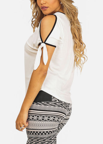 Image of White Cold Shoulder Top