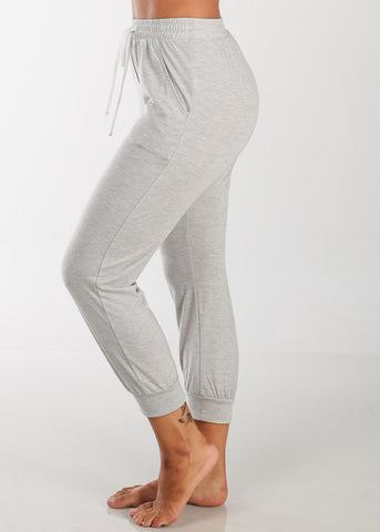 Image of Cropped Grey Jogger Pants