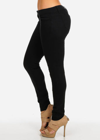 Image of Classic Butt-Lifting Twill Pants (Black)