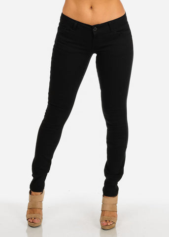 Classic Butt-Lifting Twill Pants (Black)