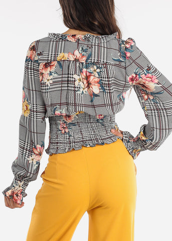 Image of Floral Houndstooth Ruffled Blouse