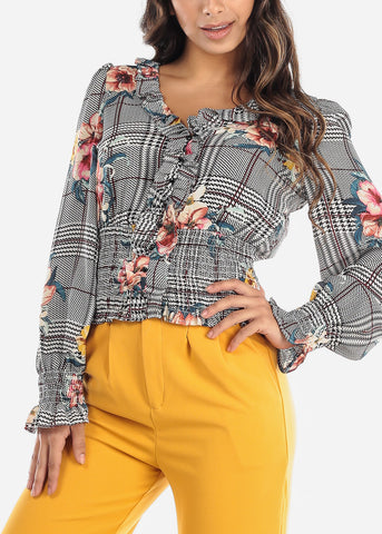 Floral Houndstooth Ruffled Blouse