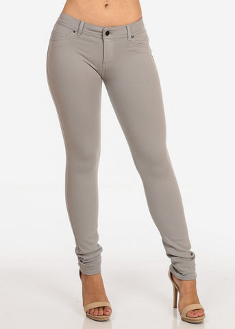 Image of Women's Junior Ladies Stylish Casual Going Out Stretchy 1 Button Comfortable Light Grey Skinny Pants