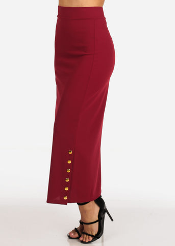 Women's Junior Ladies High Rise Dressy Burgundy Maxi Skirt With Button Up Hem Slit