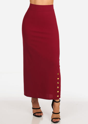 Image of Women's Junior Ladies High Rise Dressy Burgundy Maxi Skirt With Button Up Hem Slit