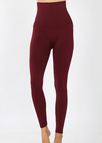 Image of High Rise Tummy Control Wine Leggings