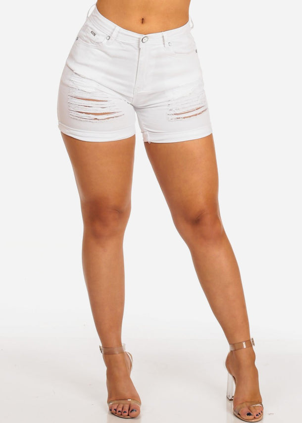 Women's Junior Must Have Casual Beach Vacation Cute Ripped Distressed Levanta Cola Colombian Design White Shorts