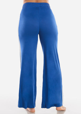 Image of Side Stripe Wide Leg Royal Blue Pants 70858RYL