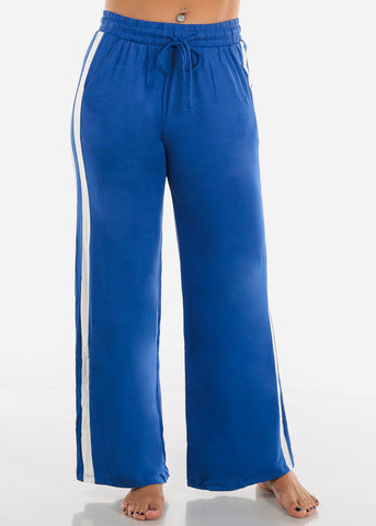 Side Stripe Wide Leg Royal Blue Pants 70858RYL