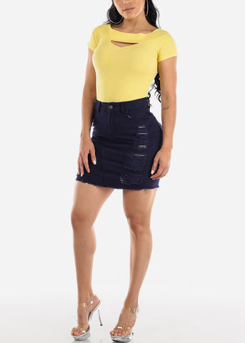 Image of Navy Distressed Denim Mini Skirt