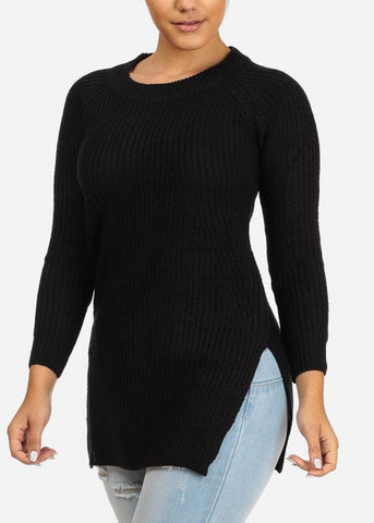 Image of Black Knitted Long Sweater