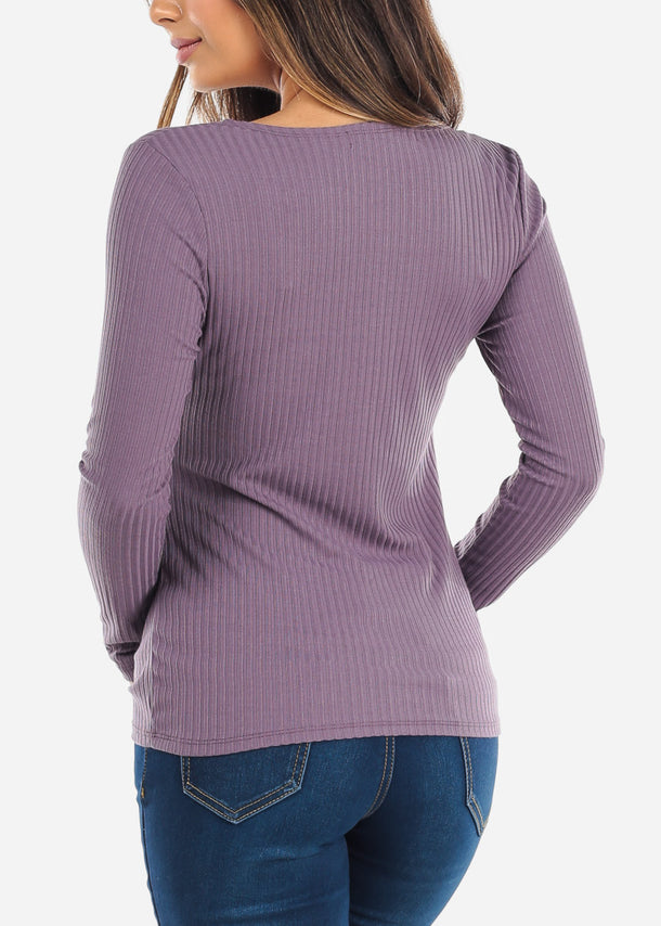 Purple Wrap Front Long Sleeve Top