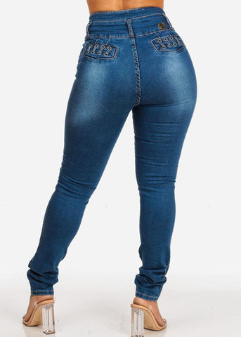 Affordable Levanta Cola  High Rise Med Wash Skinny Jeans