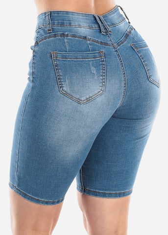Image of Mid Rise 1 Button Med Wash Butt Lifting Denim Jean Bermuda Shorts For Women Ladies Junior