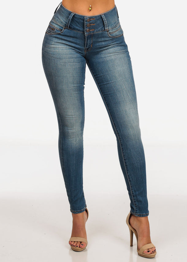 NINE PLANET Med Wash Skinny Jeans