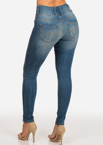 Stylish Mid Rise Med Wash 3 Button Skinny Jeans