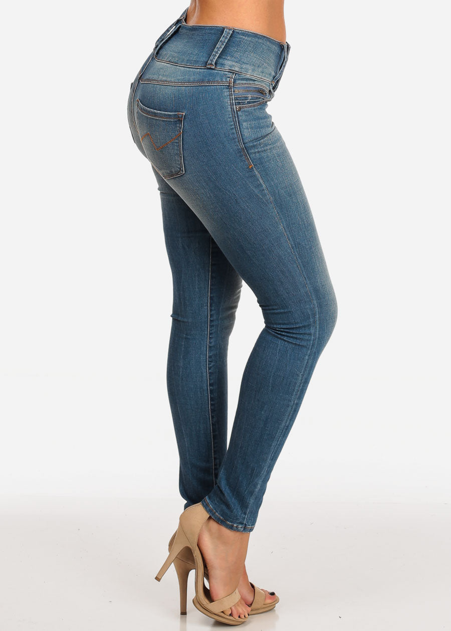 82def891867 Stylish Mid Rise Med Wash 3 Button Skinny Jeans. Double tap to zoom