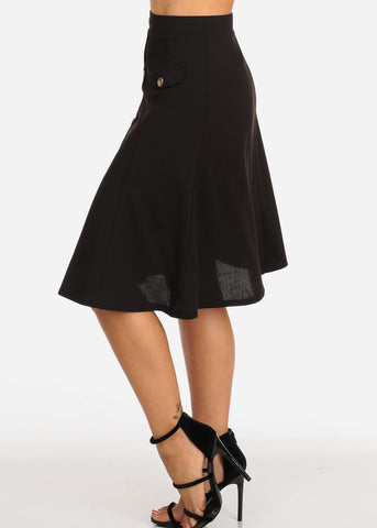 Image of Women's Junior Ladies Dressy Trendy Loose Fit Flare Button Front Button Up Black Skirt With Front Faux Pockets