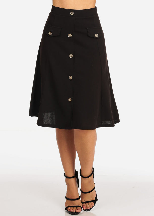 Women's Junior Ladies Dressy Trendy Loose Fit Flare Button Front Button Up Black Skirt With Front Faux Pockets
