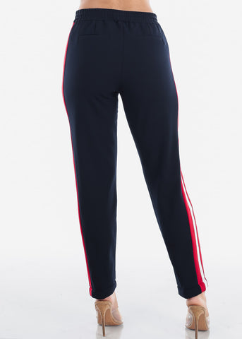 Image of High Rise Pull On Style Side Stripe Navy Straight Leg Dressy Pants For Women Ladies Junior