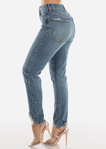 Image of High Rise Distressed Hem Jeans