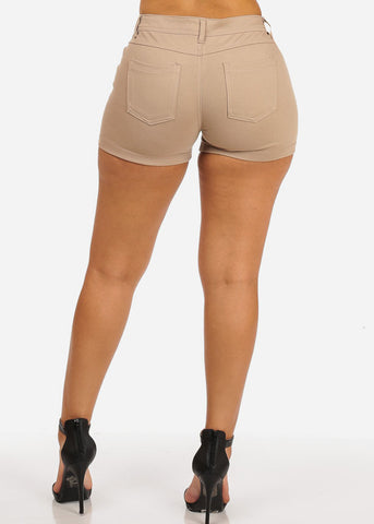 Khaki Casual Stretchy Shorty Shorts