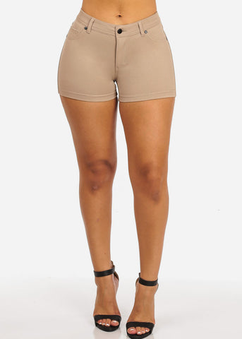 Image of Khaki Casual Stretchy Shorty Shorts
