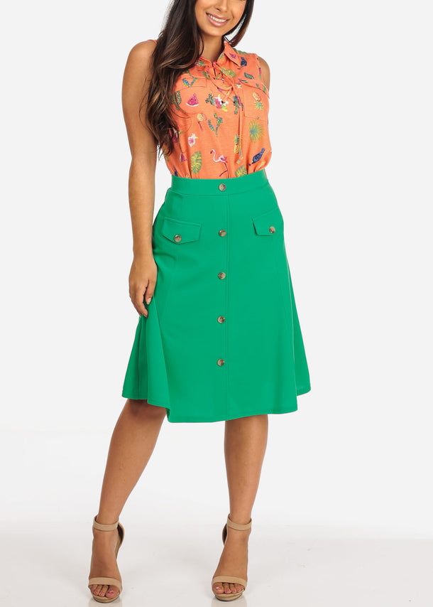 Fit & Flare Green Skirt