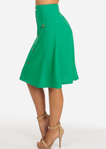 Women's Junior Ladies Dressy Trendy Loose Fit Flare Button Front Button Up Mauve Green Skirt With Front Faux Pockets