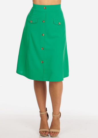 Image of Women's Junior Ladies Dressy Trendy Loose Fit Flare Button Front Button Up Mauve Green Skirt With Front Faux Pockets