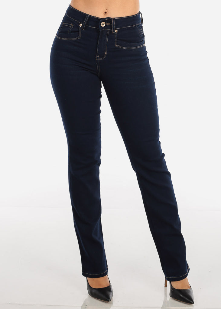 High Rise Dark Wash Bootcut Stretchy Jeans