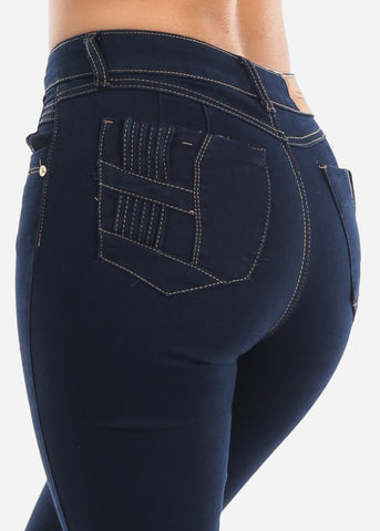 Image of High Rise Dark Wash Bootcut Stretchy Jeans