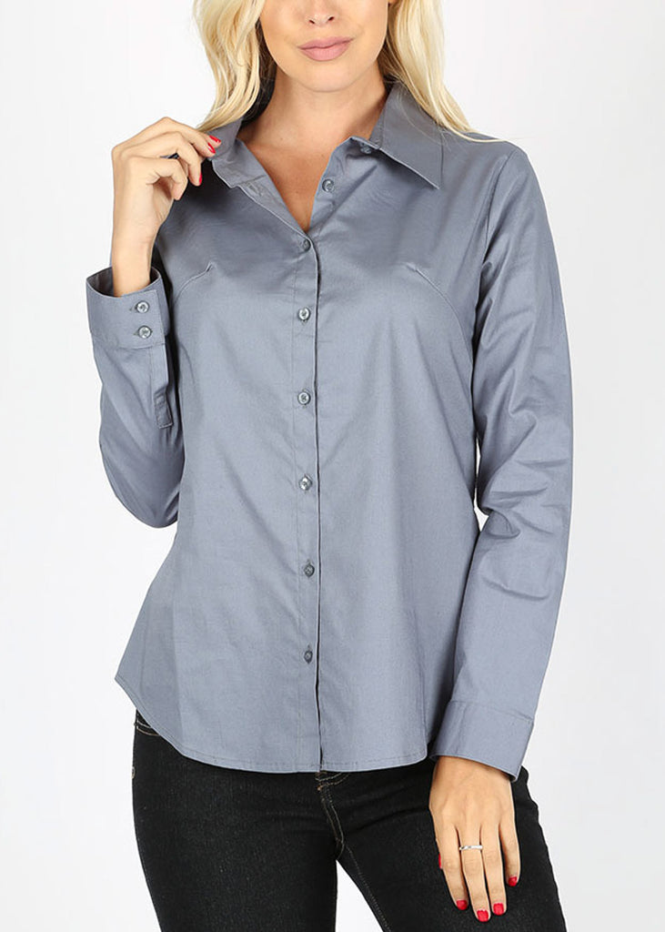 Missy Fit Button Up Blue Grey Shirt