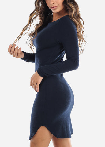 Casual Navy Boat Neckline Dress