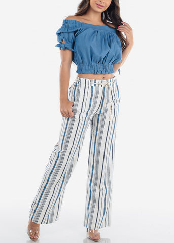 Image of Linen Blue And White Stripe High Waisted Wide Legged Pants For Women Ladies Junior Vacation Beach Trip