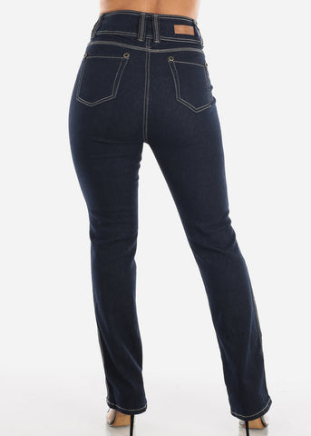 Image of High Waisted Bootcut Dark Wash Jeans