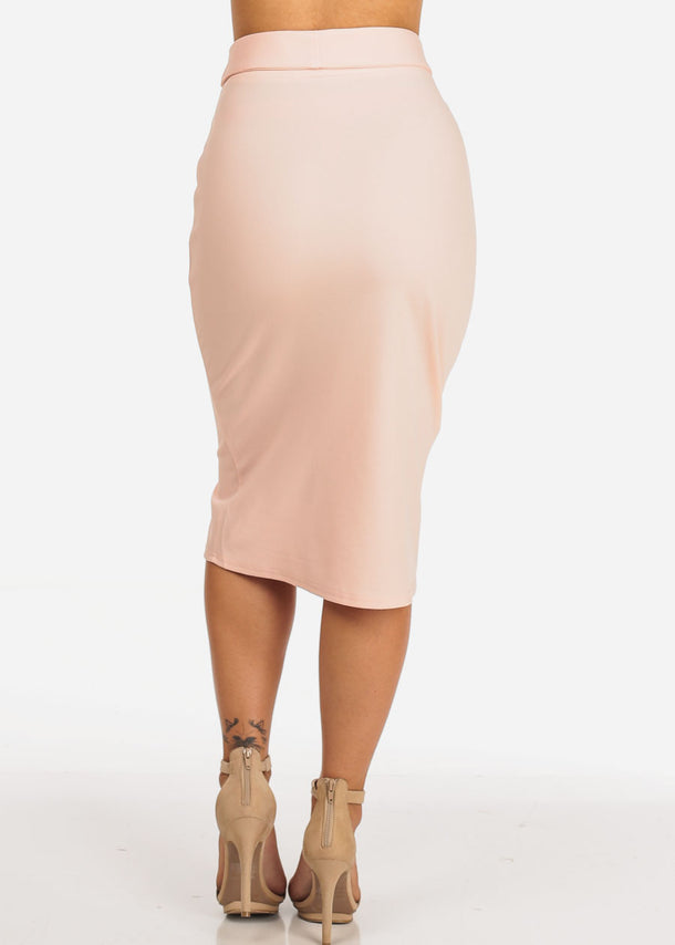 Belted Pink Pencil Skirt
