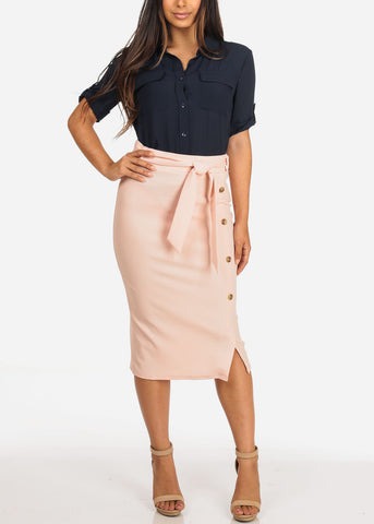 Women's Junior Ladies Dressy Office Business Career Wear Light Pink Mauve Skirt With Front Button Detail And Tie Belt
