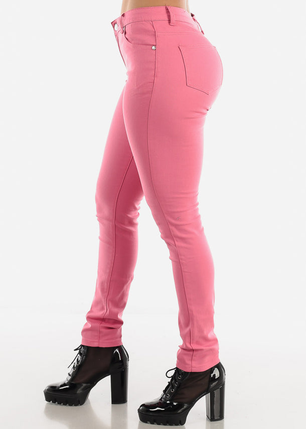 Pink Classic Mid Rise Pants