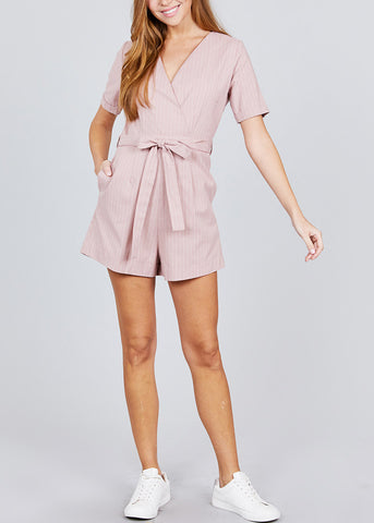 Image of Wrap Front Pink Belted Romper