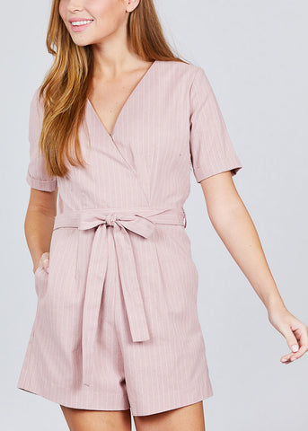 Wrap Front Pink Belted Romper