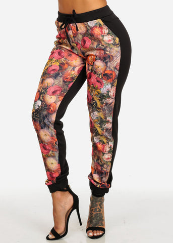 discount Black and Orange Floral Pants