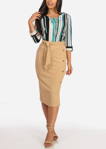Image of Women's Junior Ladies Dressy Office Business Career Wear Light Pink Khaki Skirt With Front Button Detail And Tie Belt