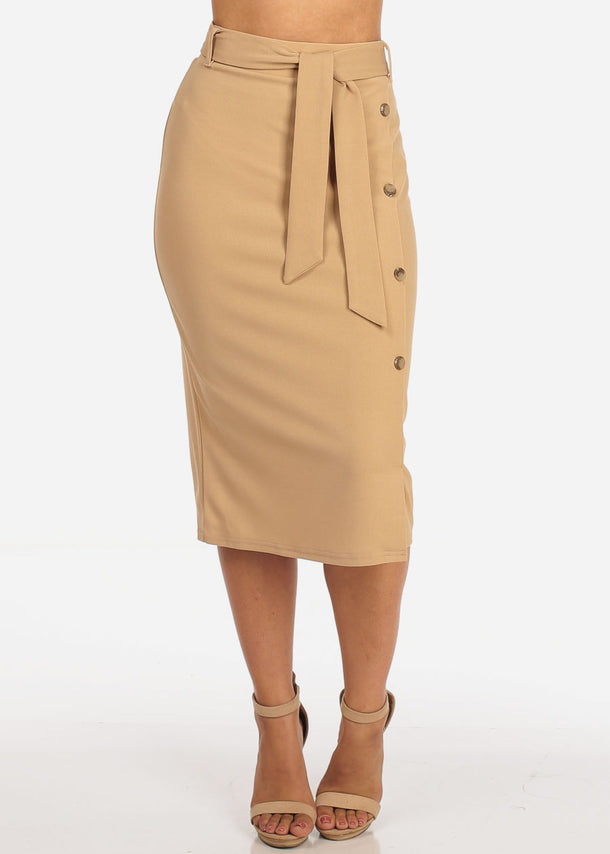 Women's Junior Ladies Dressy Office Business Career Wear Light Pink Khaki Skirt With Front Button Detail And Tie Belt