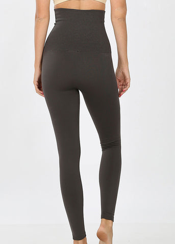 Image of High Rise Tummy Control Grey Leggings