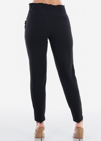 Image of High Waisted Pull On Cute Solid Black Ruffle Stretchy Comfy Dressy Pants