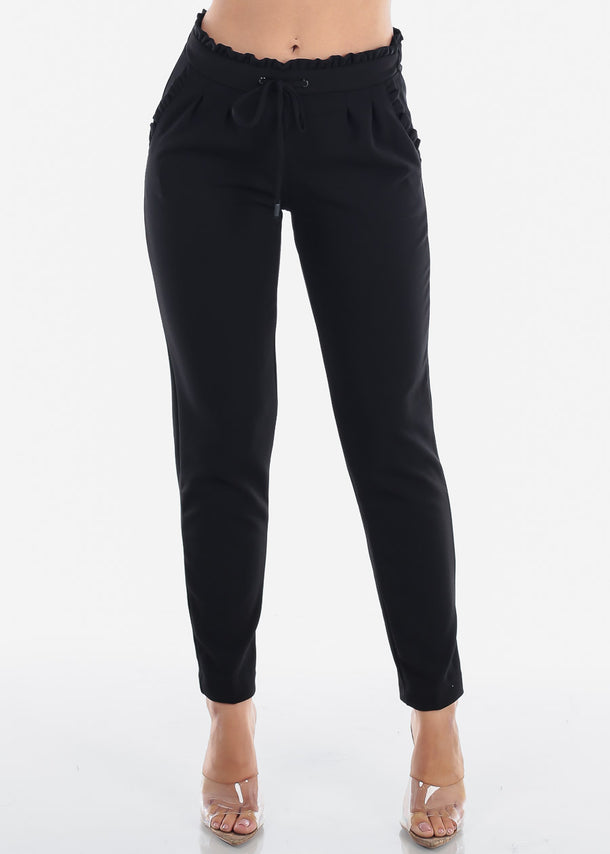 High Waisted Pull On Cute Solid Black Ruffle Stretchy Comfy Dressy Pants