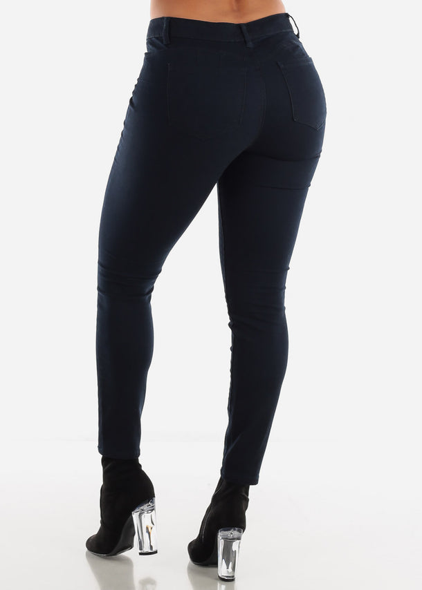 Mid Rise Levanta Cola Navy Skinny Jeans